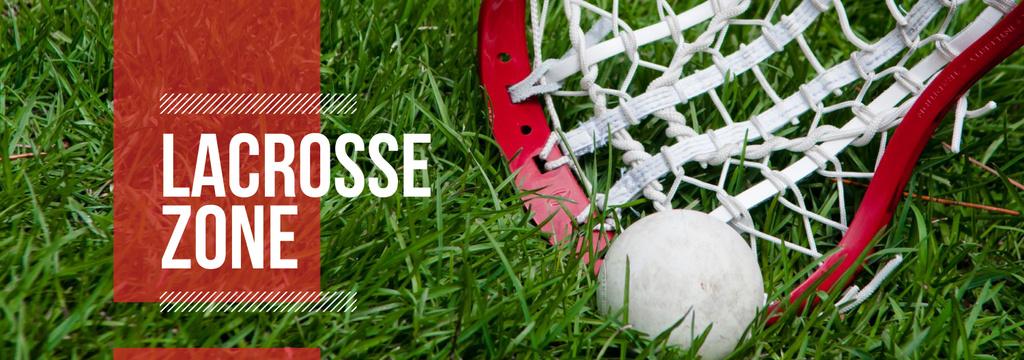 Lacrosse Stick and Ball on Green Lawn — Modelo de projeto