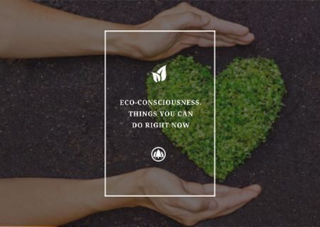 Plantilla de diseño de Eco Quote on Heart of Leaves Postcard