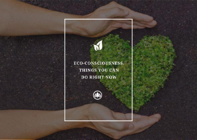 Plantilla de diseño de Eco Quote on Heart of Leaves Postcard