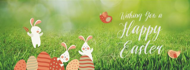 Easter Bunnies with Colored Eggs on Grass Facebook Video coverデザインテンプレート