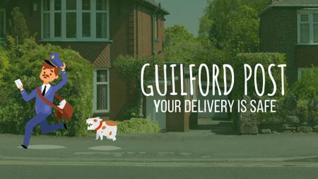 Ontwerpsjabloon van Full HD video van Delivery Service Ad Dog Chasing a Mailman