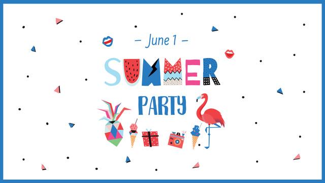 Summer Party Announcement with Bright Flamingo FB event cover Modelo de Design