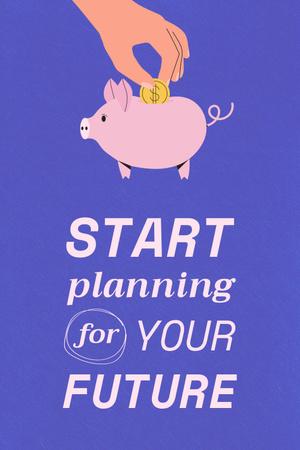 Ontwerpsjabloon van Pinterest van Saving Money with Piggy Bank