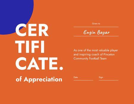 Designvorlage Football Achievement Appreciation Award für Certificate