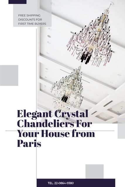 Szablon projektu Elegant Crystal Chandeliers Offer in White Tumblr