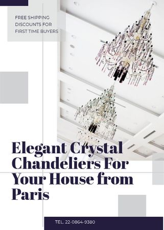 Template di design Elegant crystal Chandeliers offer Flayer