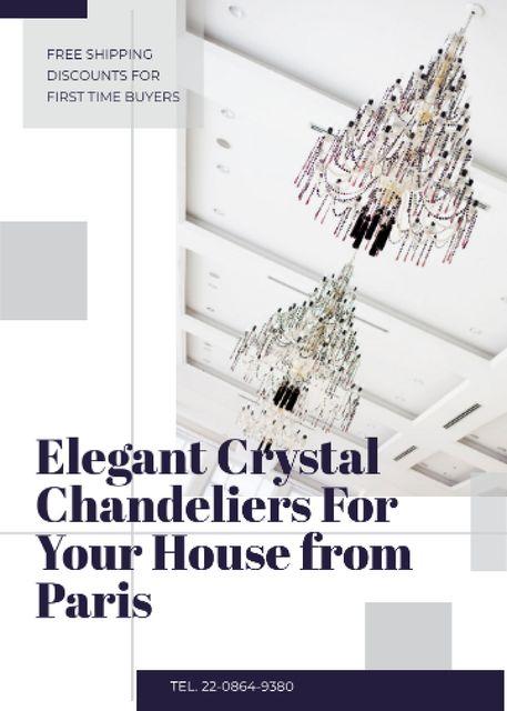 Ontwerpsjabloon van Flayer van Elegant crystal Chandeliers offer