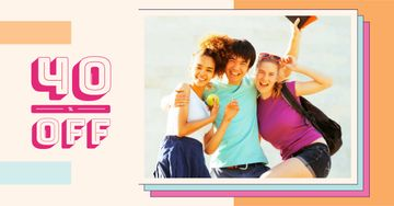 Discount Offer with Happy Young People