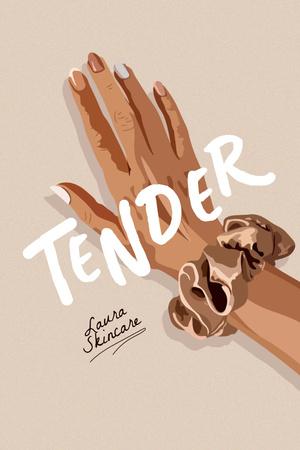 Plantilla de diseño de Skincare Ad with Tender Woman's Hand Pinterest
