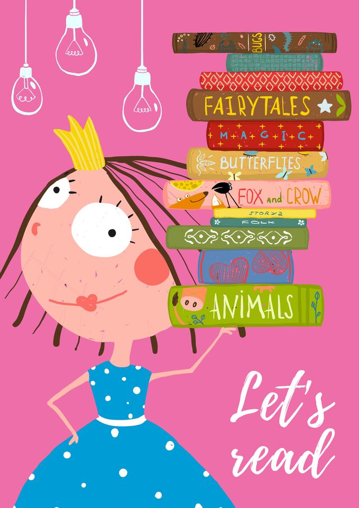Cartoon Card with little Princess with books —デザインを作成する