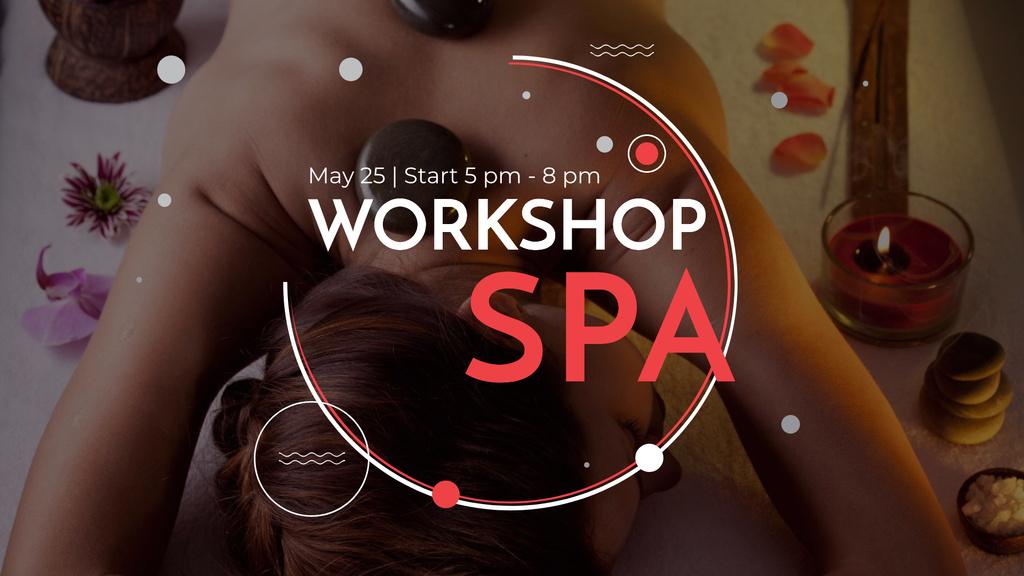 Wellness Spa Ad Woman Relaxing at Stones Massage — Crea un design