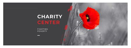 Charity Ad with Red Poppy Illustration Facebook cover – шаблон для дизайна