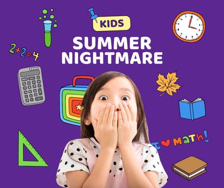 Funny Scared Girl with School Stationery Facebook Modelo de Design