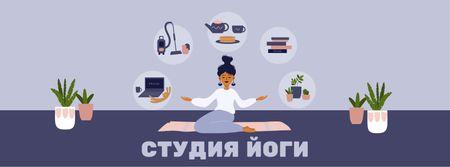 Woman meditating at Home Facebook cover – шаблон для дизайна