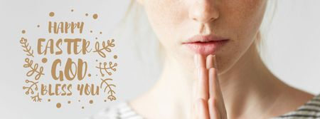 Young woman praying on Easter Facebook cover Modelo de Design