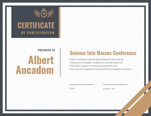 Ontwerpsjabloon van Certificate van Science Conference Participation gratitude
