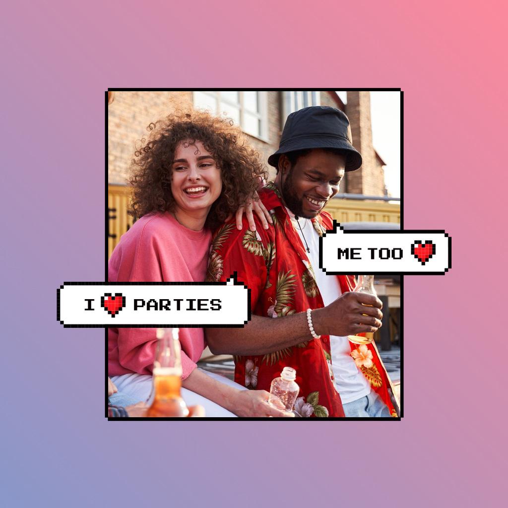 Plantilla de diseño de Attractive Stylish Young People on Party Instagram