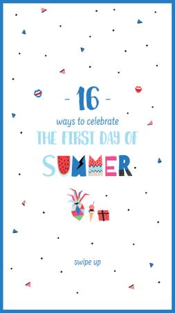 Template di design First Day of Summer Bright Greeting Instagram Story