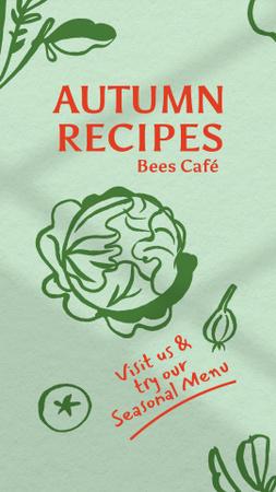 Modèle de visuel Autumn Recipes Ad with Cabbage Illustration - Instagram Story