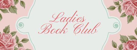 Plantilla de diseño de Book Club Meeting announcement with roses Facebook cover