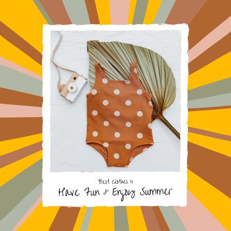Designvorlage Cute Baby Summer Swimsuit and Small Camera für Instagram