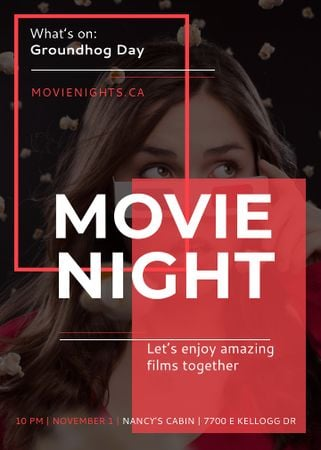 Movie Night Event Woman in 3d Glasses Flayer Modelo de Design