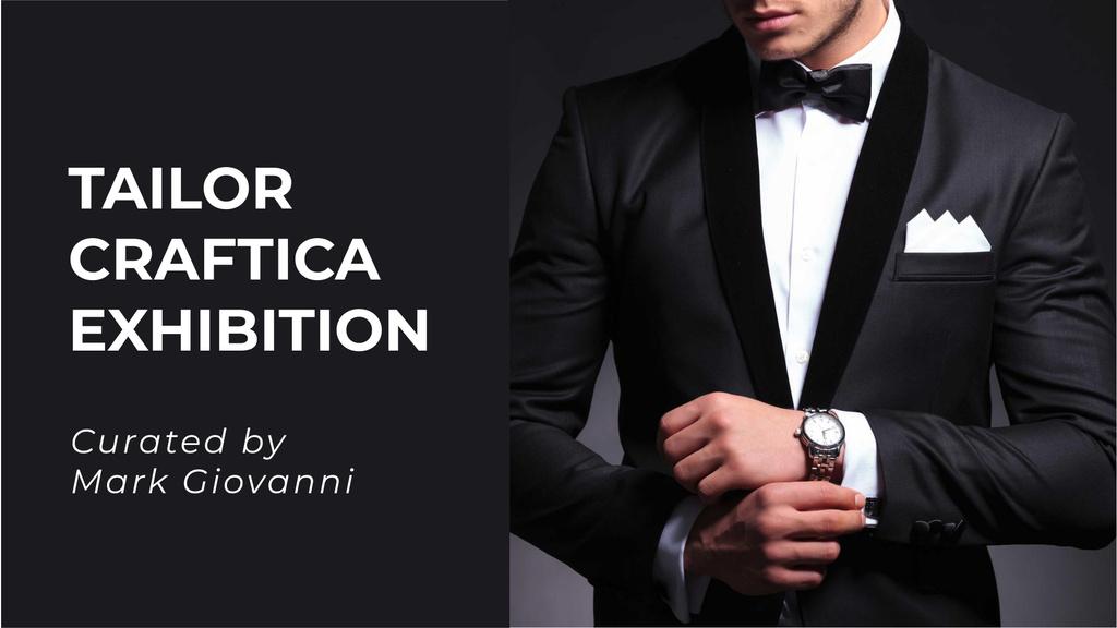 Modèle de visuel Fashion Event Announcement with Man in Formal Suit - FB event cover