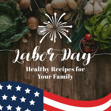 USA Labor Day festive food with flag Instagram AD Design Template