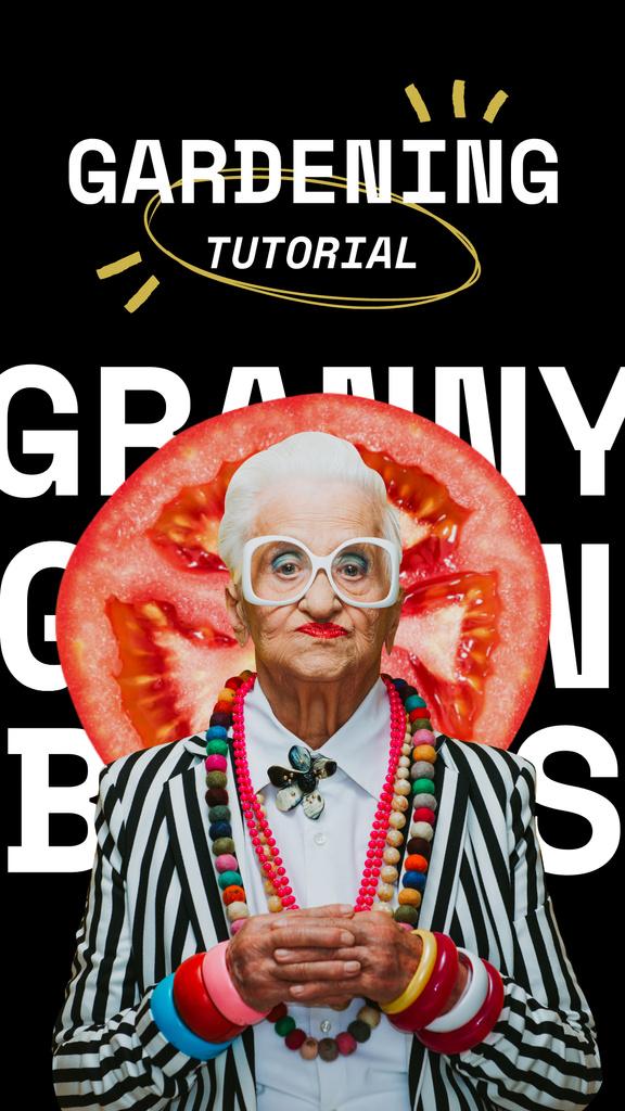 Designvorlage Blog Promotion with Funny Elder Woman für Instagram Story