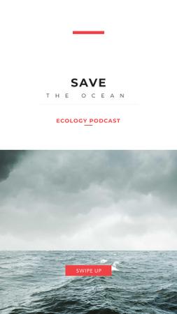 Plantilla de diseño de Ecological Podcast Ad with Stormy Sea Instagram Story