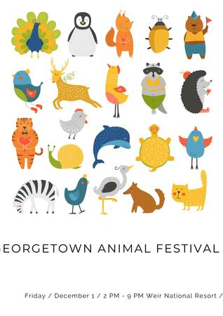 Animal festival with cute cartoon animals Poster Tasarım Şablonu