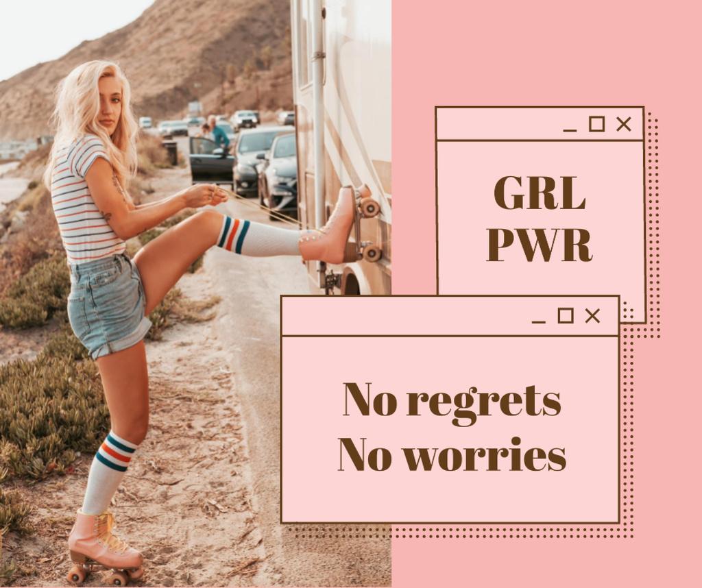 Girl Power inspiration with Woman in Roller Skates Facebook Tasarım Şablonu