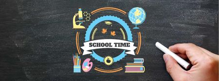 Back to School Announcement with Piece of Chalk Facebook cover Modelo de Design