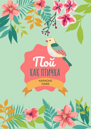 Karaoke cafe Ad with cute bird Poster – шаблон для дизайна