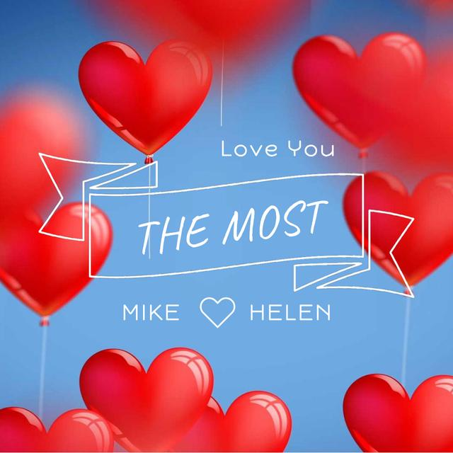 Plantilla de diseño de Red heart-shaped Balloons for Valentine's Day Animated Post