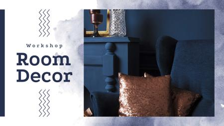 Cozy interior in blue colors FB event cover Tasarım Şablonu