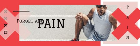 Ontwerpsjabloon van Email header van Man Suffering from Knee Pain