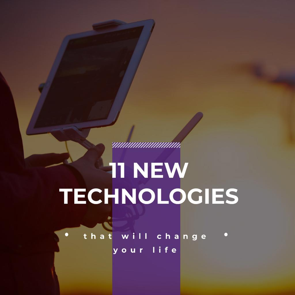 New technologies Ad with Man holding Tablet Instagram Design Template