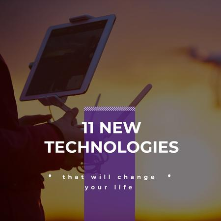 New technologies Ad with Man holding Tablet Instagram Tasarım Şablonu