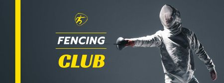 Plantilla de diseño de Fencing Club Ad with Fencer Facebook cover