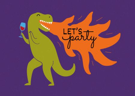 Designvorlage Party Invitation with Cute Dinosaur holding Wine für Card