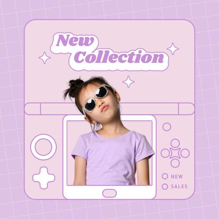 Plantilla de diseño de New Kids Fashion Collection Announcement with Stylish Little Girl Instagram