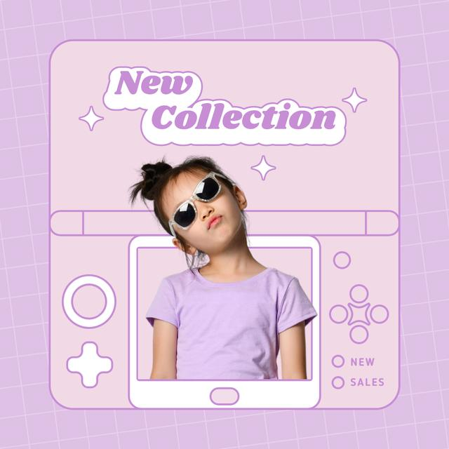 New Kids Fashion Collection Announcement with Stylish Little Girl Instagram Design Template