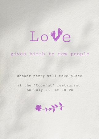 Template di design Pregnancy Party Announcement with Baby's Footprints Invitation