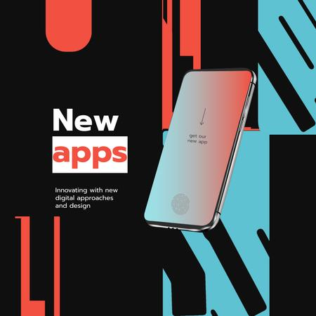 Modèle de visuel New Apps Ad with Modern Smartphone - Animated Post