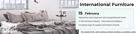 Plantilla de diseño de International furniture show Announcement Twitter