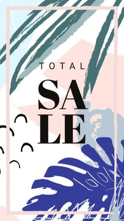 Plantilla de diseño de Sale Announcement Frame Leaves in Tropical Forest Instagram Story