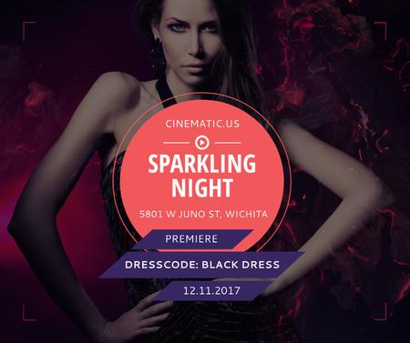 Night Party Invitation Woman in Black Dress Facebook Modelo de Design