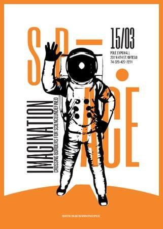 Plantilla de diseño de Space Lecture Astronaut Sketch in Orange Flayer