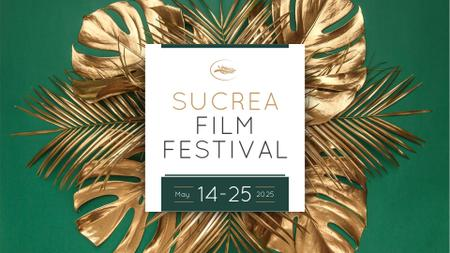 Film Festival Announcement with Golden Palm Branches FB event coverデザインテンプレート